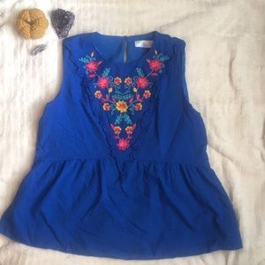 Time and True Embroidered Peplum Sleeveless Top